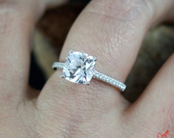 White Sapphire & Diamond Engagement Ring Cushion Cathedral 2.5ct 8mm 14k 18k White Yellow Rose Gold-Platinum-Custom made-Wedding-Anniversary
