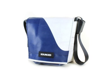 Small Messenger Bag, Small Laptop or Tablet Bag, Waterproof Shoulder Bag made from recycled Truck Tarp, Eco Friendly Travel Bag (31.07)