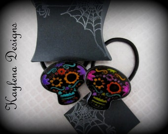 Sugar Skull  Ponytail Holder, Day of the Dead , Resin Ponytail Holder -  Holiday Theam