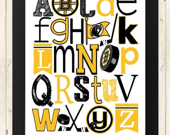 BOSTON BRUINS NHL hockey abc art print
