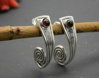 Silver garnet earrings, sterling spiral post earrings garnet gemstone half hoop long earrings garnet jewelry, rustic curls gift for her