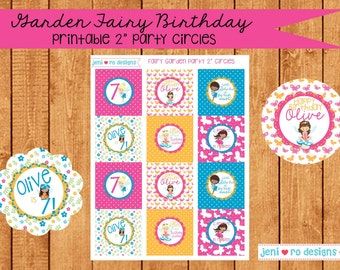 "Fairy Garden Party Printable Birthday 2"" Party Circles - Personalization included!"