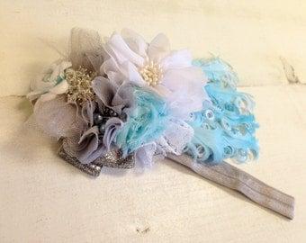 Elegant Winter Wonderland floral feather headband/ hairclip