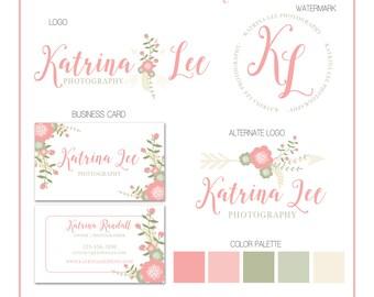 Premade Business Logo - Flowers and Arrow Branding Set - Studio - Photography - Customizable - Predesigned - Option to retire design