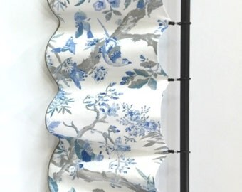 Custom Window Valance Curtain...Linen...Birds...Floral...White Blue... READY TO SHIP
