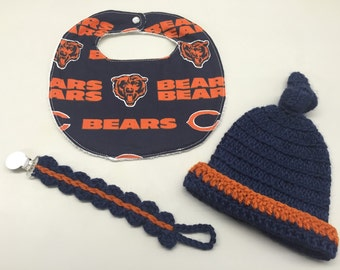 Chicago Bears Newborn Baby Bib, Hat & Pacifier Holder Set