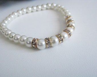 Wedding Bracelet, Pageant Bracelet, Rhinestone Bracelet, Bridal Bracelet, Crystal Pearl Bracelet