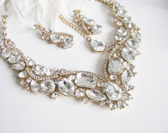 Clear Faceted Glass Sparkle Statement Wedding Necklace in  gold tone finish Great Bridal Wedding Jewelry Pageant Jewelry