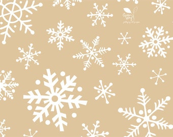 Christmas Tissue Paper - Kraft Brown & White Snowflakes Christmas paper - largr 20 x 30  inch 100% recycled - Packaging and Gift Wrapping