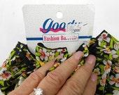 Vintage Goody hair bow fabric scarf hair fascinator barrette bow fashion barrette black floral hair bow large fluffy ruffle bow hair clip