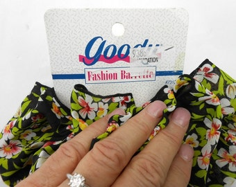 Vintage Goody hair bow fabric scarf hair fascinator barrette bow fashion barrette new old stock large fluffy ruffle bow hair clip