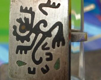 Size 7-Adj Ring : Vintage Taxco Mexico Sterling Monkey Bird Man Image - Signed 3 Eagle  (9905)