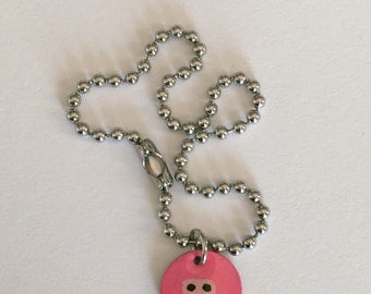 Hand Painted Pink Ninja Charm on Bracelet (Stainless Steel)