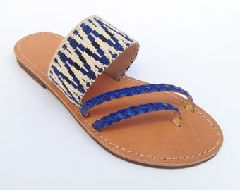 The Mesogeios Sandal - Blue Chevron