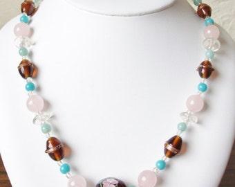 "Vintage 20"" Rose Quartz Lamp Work Glass Bead Handmade Bead Necklace"