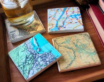 Map Cup Coaster Set Custom Marble Tile Set of 4  Personalized Map Custom Coasters Tile Coasters Gift For Women Gift For Men