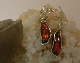 Bright Red with Minor Green Fire Gem Ammolite from Utah Deposit in Argentium Sterling Silver Wire Wrapped Earrings 427