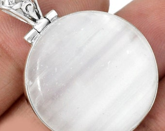 Adorable Selenite Full Moon Pendant,  925 Silver, With Organza Cord