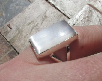 Sale, Gourgues Selenite, Ring Size 5.5 USA, 925 Silver, Positive Energy, Protection Stone