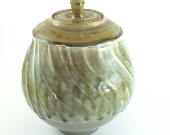 Wheel Thrown Lidded Stoneware Jar in Orange Yellow  (YCP634)