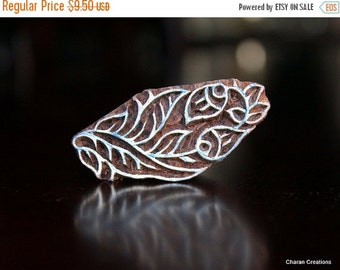 THANKSGIVING SALE Hand Carved Indian Wood Textile Stamp Block- Flower Buds
