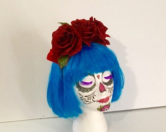 Frida Kahlo Flower Crown Red Rose Headband Catrina Rockabilly Flower Headband Hair Accessory Gothic Costume Lolita Halloween