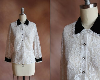 vintage 1950's white lace rhinestone blouse with black velvet collar / size m - l