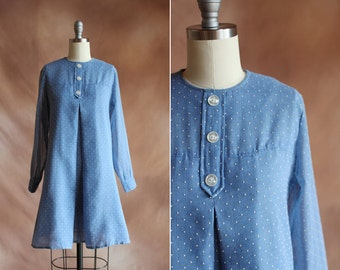 vintage 1960's pale blue polka dot mini tent dress with buttons / size s