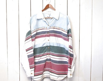 Color Block Button Up Early 90s Vintage Southwest Blue White Cotton Chambray Long Sleeve Shirt 2XL