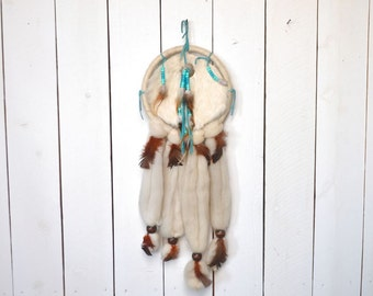 Vintage Dream Catcher Early 90s Wall Hanging White Wool Roving Brown Feather Fringe Beaded Native Decor