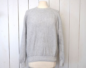 Cotton Knit Sweater Vintage LL Bean 1980s Light Gray Pullover Chunky Knit Sweater Large