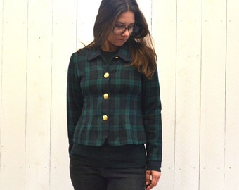 Plaid Blazer Jacket - Early 90s Preppy Navy Blue Green Jacket - Vintage Cropped Twin Peaks Style Coat - Extra Small XS / Small S