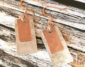 Boho Style Copper and Sterling Silver Graduated Earrings