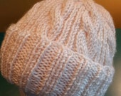 Off White Cable Hand-Knit Hat. Super soft, for men or women- Ready to be Shipped