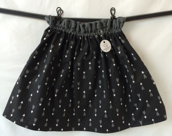 CLEARANCE Black and White Arrow Boutique Ruffle Waist Skirt