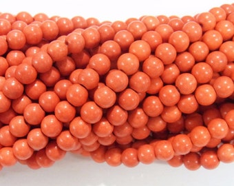"4mm/6mm/8mm/10mm/12mm Magnesite Beads Round Orange Synthetic Semiprecious Gemstone 15""L"