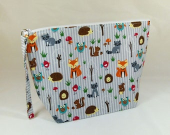 Knitting Project Bag - Large Zipper Wedge Bag in Woodland Fabric - Foxes, Hedgehogs, Squirell, and Raccoon with Orange Arrow Cotton Lining