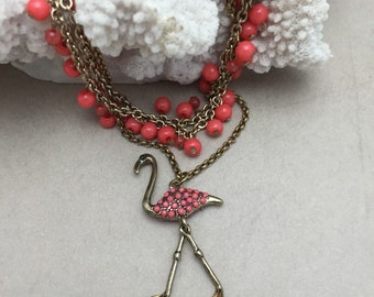 Flamingo Necklace Pink Flamingo Necklace Vintage Assemblage Necklace