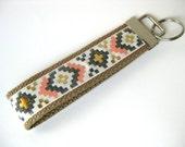 Aztec Tribal KEY FOB Wristlet- Wrist Keychain- Key Lanyard for Women- Wristlet Key Chain- Christmas Gift for Her- Gift for Women Under 10