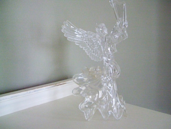 Vintage Acrylic Angel Tree Topper With Harp By Acottagekitchen