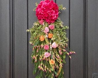 Spring Wreath Summer Wreath Teardrop Vertical Door Swag Decor, Floral Swag, Pink Hydrangea, Yellow, Peach