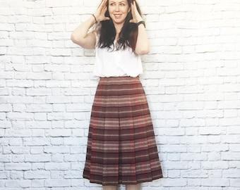 Vintage 70s Box Pleated Striped Wool Knit Skirt Knee Length Brendella Ireland Plaid