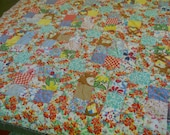 Vintage Patchwork 9 Patch Comforter/Quilt-String Tied-Hand Tied-Some Feedsack Material