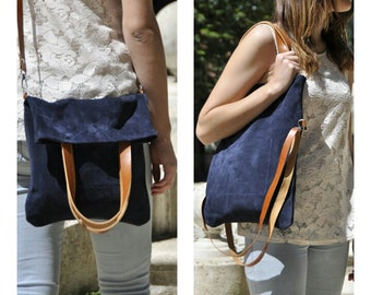 SUMMER leather bag - Mery model in blue leather
