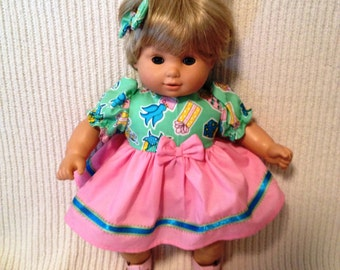 15 inch doll (modeled by Bitty Baby) Birthday dress with matching headband