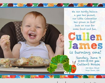 5x7 The Very Hungry Caterpillar Birthday Party Invitation PRINTABLE | Eric Carle First Birthday Invitation | Portrait/Landscape Orientation