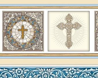 Heavenly, Decorative Stripe, Quilting Treasures Fabric, 1/2 Yard