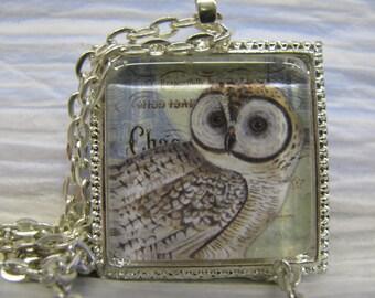 Bright-eyed Owl necklace pendant