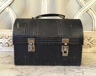Vintage Black Dome Top Lunch Box - 1940s Style Retro Lunch Box - Great for Display or Prop - No Thermos