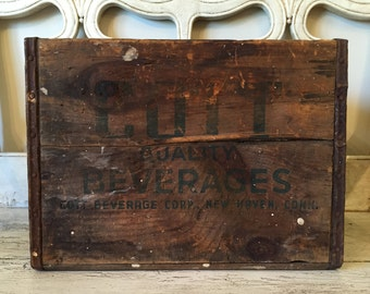 Vintage Rustic Wooden Crate - Cott Beverages - Distressed Farmhouse Storage